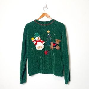 Vintage 1990s Green Knit Christmas Holiday Ugly Crewneck Sweater